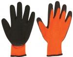 Перчатки вязаные с наладонником покрытым рельефным вспененным латексом, оранжевые, FIT, 12476